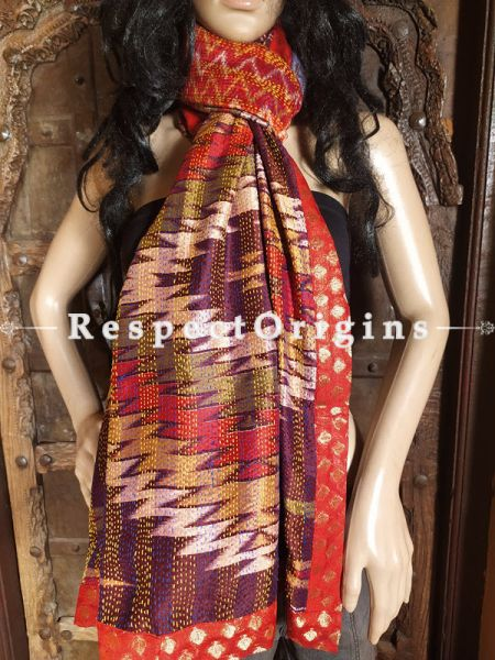 Magnificent Silken Kantha Embroidered Multi-Colored Stole with Red Zari work Border