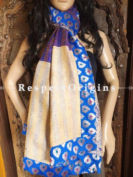 Magnificent Silken Kantha Embroidered Multi-Colored Stole with Blue Zari work Border, Dupatta, Shawl; RespectOrigins.com