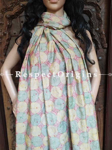 Ethnic Silken Kantha Embroidered Green, Red and Yellow Stole, Dupatta, Shawl; RespectOrigins.com