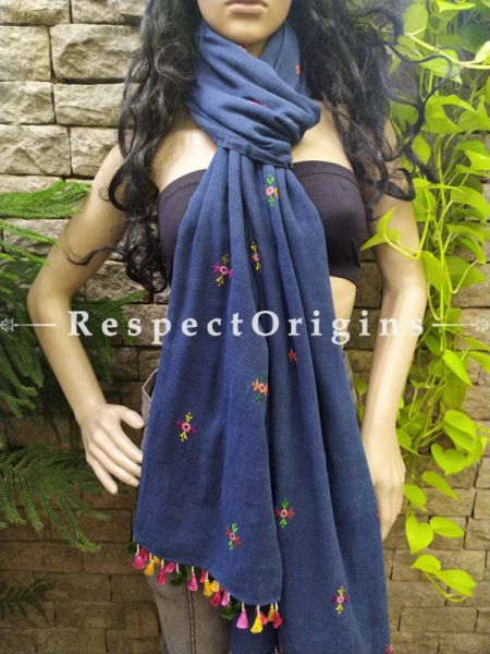 Exclusive Linen Soof Embroidered Stoles or Dupattas; Navy Blue With Green and Pink Embroidery Online at RespectOrigins.com