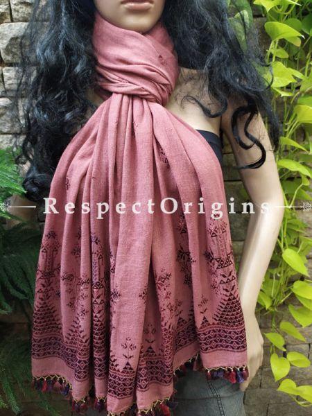 Exclusive Linen Soof Embroidered Stoles or Dupattas; Brown Online at RespectOrigins.com