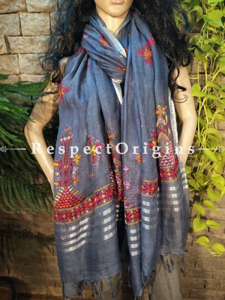 Exclusive Linen Soof Embroidered Stoles or Dupattas; Grey With Maroon and Yellow Embroidery Online at RespectOrigins.com