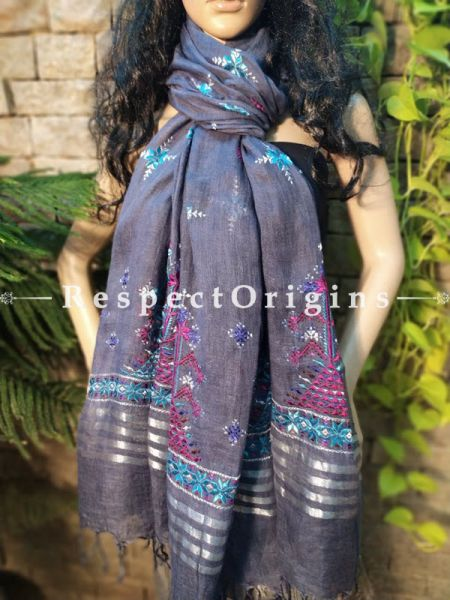 Exclusive Linen Soof Embroidered Stoles or Dupattas; Grey With Purple and Blue Embroidery Online at RespectOrigins.com