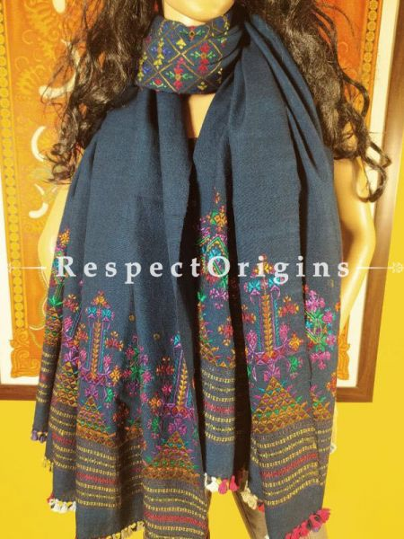 Exclusive Woollen Soof Embroidered  Shawl or Stole; Navy Blue With Green, Purple, Blue and Yellow Embroidery Online at RespectOrigins.com