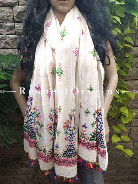 Exclusive Linen Soof Embroidered Stoles or Dupattas; White With Yellow, Green, Orange and Purple Hand Embroidery Online at RespectOrigins.com