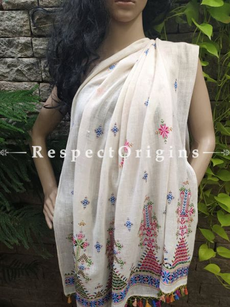 Exclusive Linen Soof Embroidered Stoles or Dupattas; White With Green, Blue and Maroon Hand Embroidery Online at RespectOrigins.com