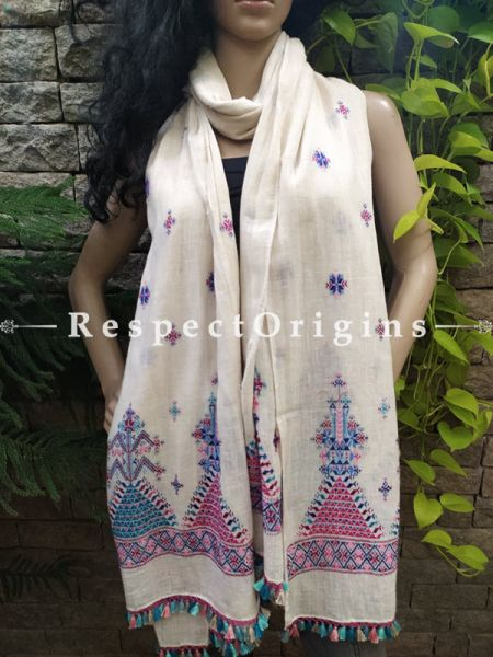 Exclusive Linen Soof Embroidered Stoles or Dupattas; White With Blue and Purple Hand Embroidery Online at RespectOrigins.com