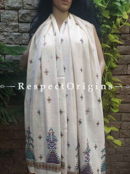 Exclusive Linen Soof Embroidered Stoles or Dupattas; White With Green, Brown and Purple Hand Embroidery Online at RespectOrigins.com