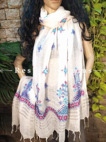 Exclusive Linen Soof Embroidered Stoles or Dupattas; White With Maroon & Blue Hand Embroidery Online at RespectOrigins.com
