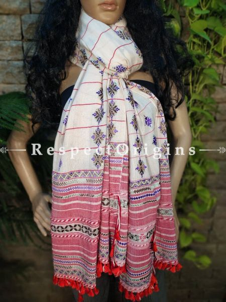 Exclusive Linen Soof Embroidered Stoles or Dupattas; White With Blue, Black and Red Hand Embroidery Online at RespectOrigins.com