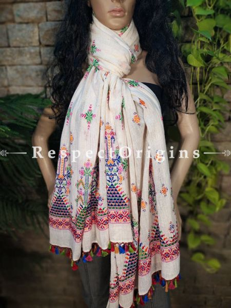 Exclusive Linen Soof Embroidered Stoles or Dupattas; White With Orange, Green Blue and Red Hand Embroidery Online at RespectOrigins.com