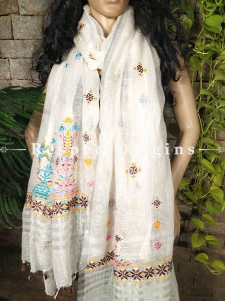 Exclusive Linen Soof Embroidered Stoles or Dupattas; White With Brown, Pink, Blue and Yellow Hand Embroidery Online at RespectOrigins.com