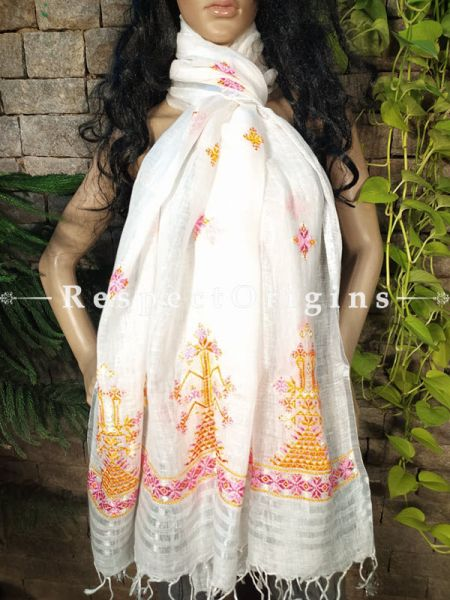 Exclusive Linen Soof Embroidered Stoles or Dupattas; White With Yellow and Purple Hand Embroidery Online at RespectOrigins.com