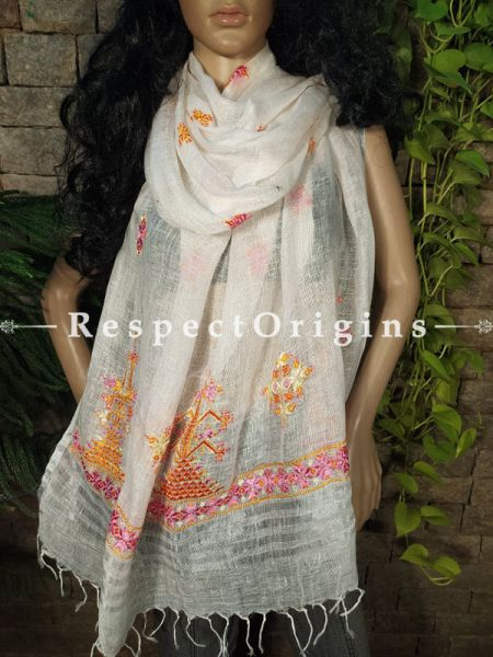 Exclusive Linen Soof Embroidered Stoles or Dupattas; White With Purple and Orane Embroidery Online at RespectOrigins.com