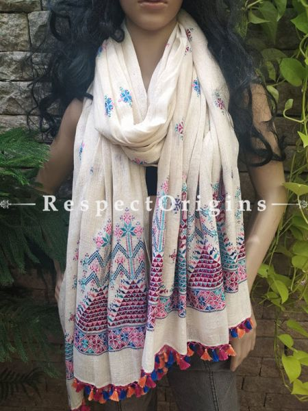 Exclusive Linen Soof Embroidered Stoles or Dupattas; White With Blue and Maroon Embroidery Online at RespectOrigins.com