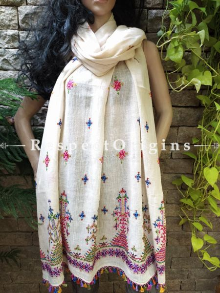Exclusive Linen Soof Embroidered Stoles or Dupattas; White With Purple, Pink and Blue Embroidery Online at RespectOrigins.com