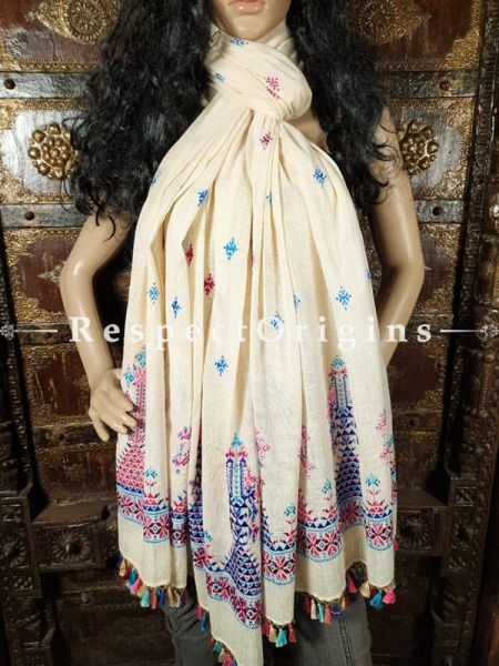 Exclusive Linen Soof Embroidered Stoles or Dupattas; White With Maroon and Blue Embroidery Online at RespectOrigins.com