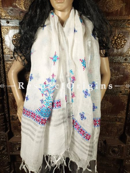 Exclusive Linen Soof Embroidered Stoles or Dupattas; White With Maroon and Blue Hand Embroidery Online at RespectOrigins.com