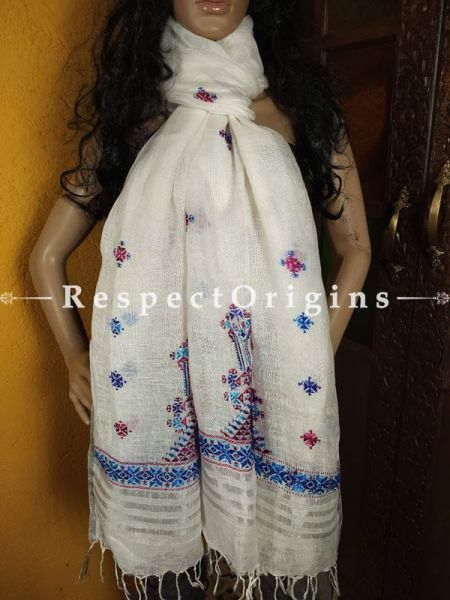 Exclusive Linen Soof Embroidered Stoles or Dupattas; White With Red, Blue and Purple Hand Embroidery Online at RespectOrigins.com