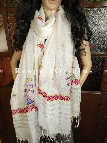 Exclusive Linen Soof Embroidered Stoles or Dupattas; White With Red, Blue, Greey and Yellow Hand Embroidery Online at RespectOrigins.com