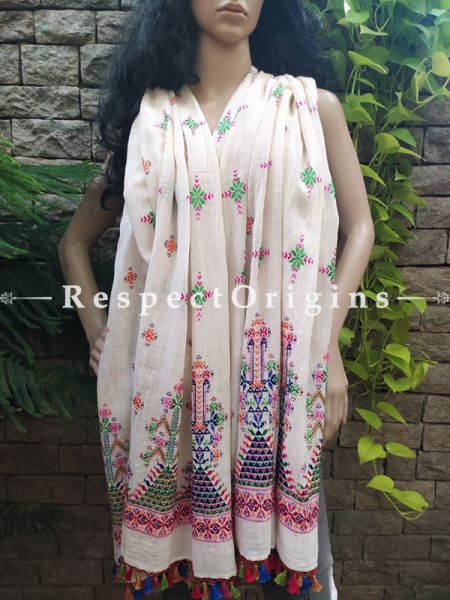Exclusive Linen Soof Embroidered Stoles or Dupattas; White With Green, Pink, Orange and Blue Hand Embroidery Online at RespectOrigins.com