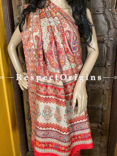 Exclusive Kashmiri Kani Semi-Pashmina Jamavar Rose Saree with Blouse; RespectOrigins.com