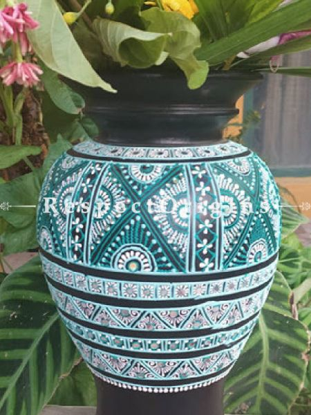 Buy Exotic Handpainted Mirror In Clay Black Potters Vase at Respect Origins