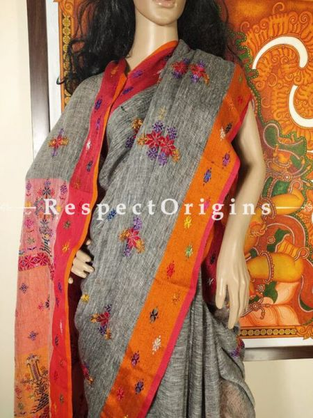 Fabulous Grey Linen Saree with elaborate Suf Embroidery; Orange Border and Pallu Online at RespectOrigins.com