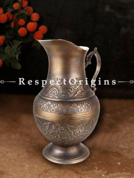 Buy Fancy Vintage Brass Jug Etched Floral Pitcher At RespectOrigins.com