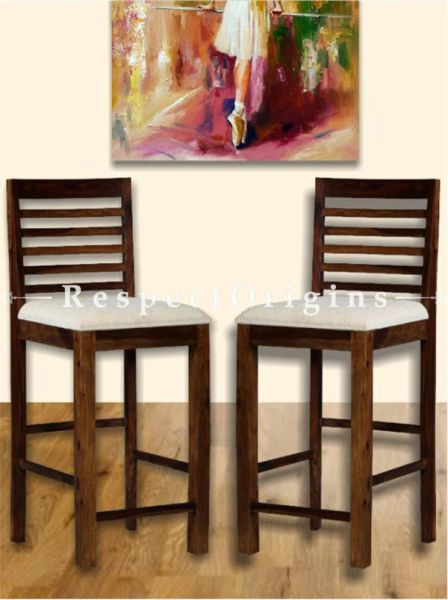Buy Fanny High Wooden Designer Upholstered Bar Stool Pair At RespectOrigins.com