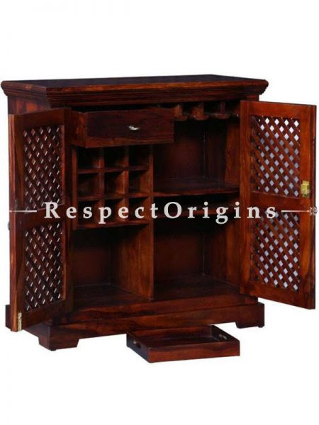 Buy Rustic Handmade Vintage Sheesham Wooden Bar Cabinet With Two Door With Lattice Work with a Pair Bar Stools At RespectOrigins.com