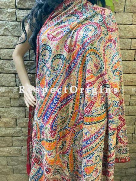 Luxurious Kalamkari Kashmiri Pashmina Paisley Motif Shawl; 74 X 40 Inches.; RespectOrigins.com