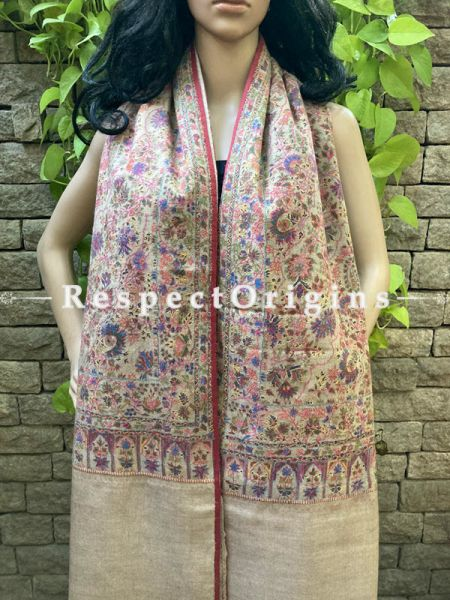 Luxury Fine Kalamkari Kashmiri Pashmina Paisley Motif Shawl; 78 X 30 Inches; RespectOrigins.com