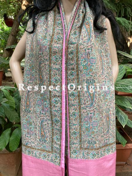 Fine Pink Kani Kashmiri Pashmina Paisley Motif Shawl; 85 X 40 Inches; RespectOrigins.com