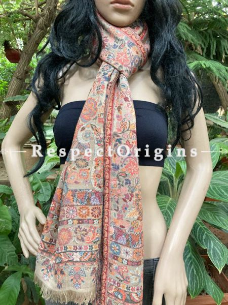 Fine Kani Kashmiri Pashmina Paisley Motif Stole; 80 X 28 Inches; RespectOrigins.com