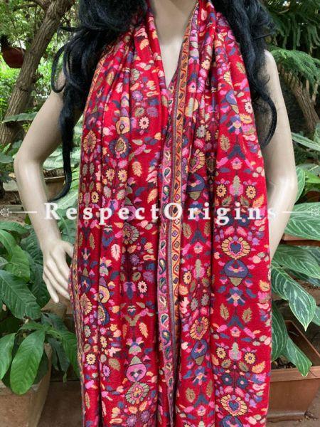 Fine Red Kani Kashmiri Woolen Paisley Motif Stole; 80 X 28 Inches; RespectOrigins.com