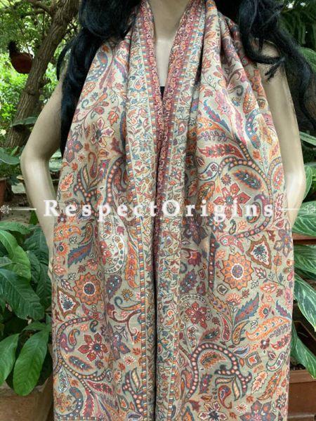 Fine Kani Kashmiri Woolen Paisley Motif Stole; 80 X 30 Inches; RespectOrigins.com