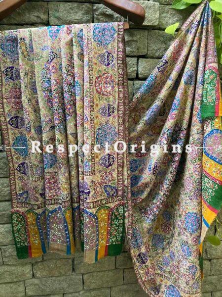 Fine Kalamkari Kashmiri Pashmina Paisley Motif Shawl; 74 X 40 Inches; RespectOrigins.com