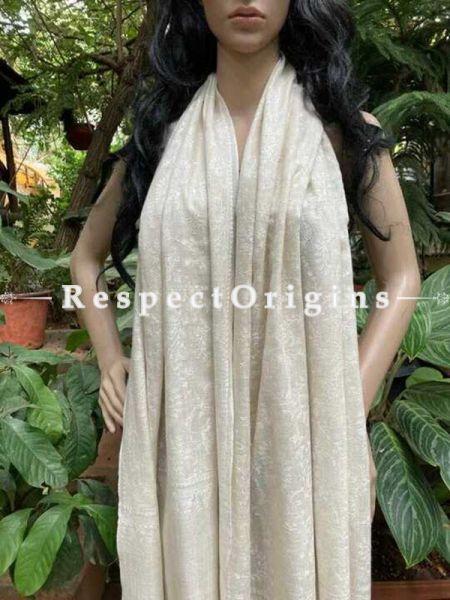 Fine Luxury Pashmina Kani Kashmiri Stole with Antique Zari Weave; 80 X 28 Inches; RespectOrigins.com
