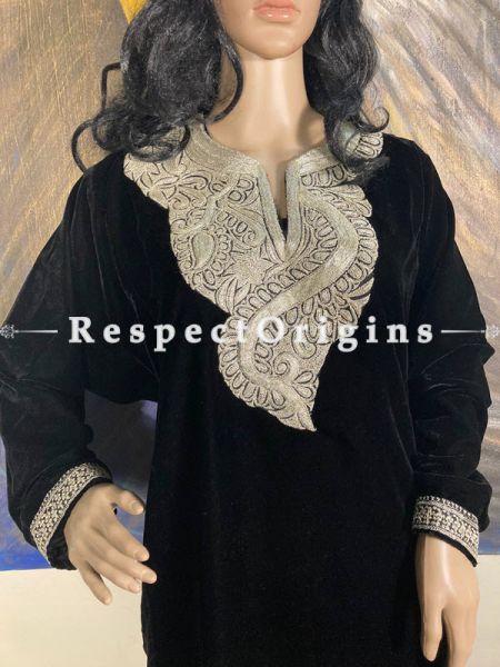 Luxurious Soft Velvet Black Kashmiri Pheran Top with Golden Tilla Embroidery; Free Size; RespectOrigins.com