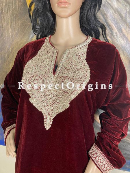 Luxurious Soft Velvet Vibrant Red Kashmiri Pheran Top with Golden Tilla Embroidery; Free Size; RespectOrigins.com