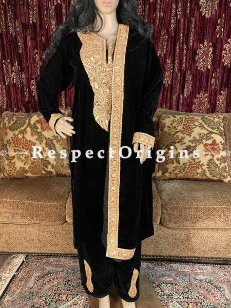 Kashmiri Tilla embroidery adorned silk velvets Suit with velvet dupatta adorned with Kashmiri gold exquisite Tilla embroidered borders.; RespectOrigins.com