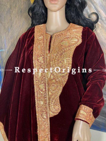 Red Kashmiri Tilla embroidery adorned silk velvets Suit with velvet dupatta adorned with Kashmiri gold exquisite Tilla embroidered borders.; RespectOrigins.com