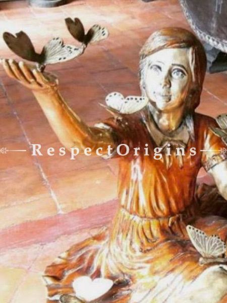 Finely Crafted Pure Bronze Statue of a Girl and Butterfly; Moment Frozen in Time; 30 Inches at RespectOrigins.com