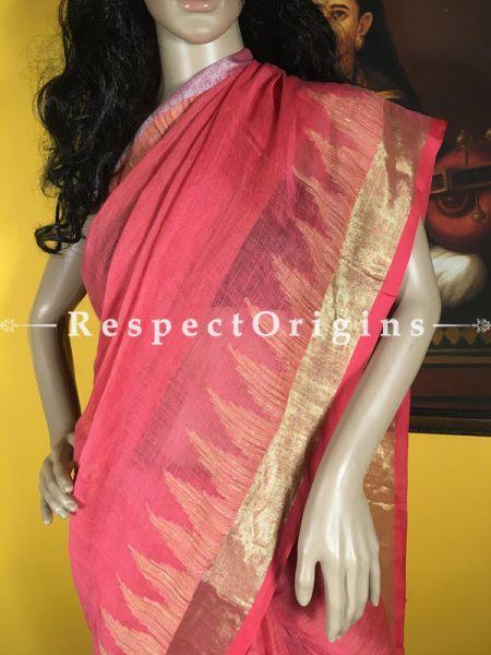 Finely Handloom; Pink; Cotton Silk Saree, RespectOrigins.com