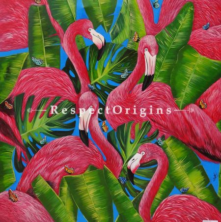 Square Art Painting of Flamingo ;Acrylic on Canvas; 36in X 36in at RespectOrigins.com