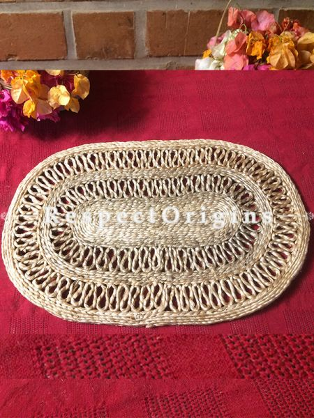 Ecofriendly Natural Color Oval organic Jute Table Mats or Floor Mats