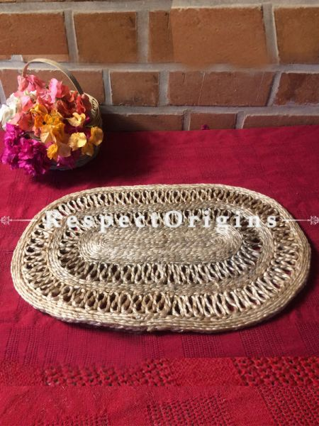 Ecofriendly Natural Color Oval organic Jute Table Mats or Floor Mats, Hand Braided; RespectOrigins