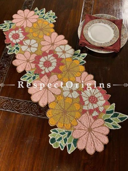 Pink Delight! Silken Beaded Table Runner with Place Mats Gift Set; RespectOrigins.com