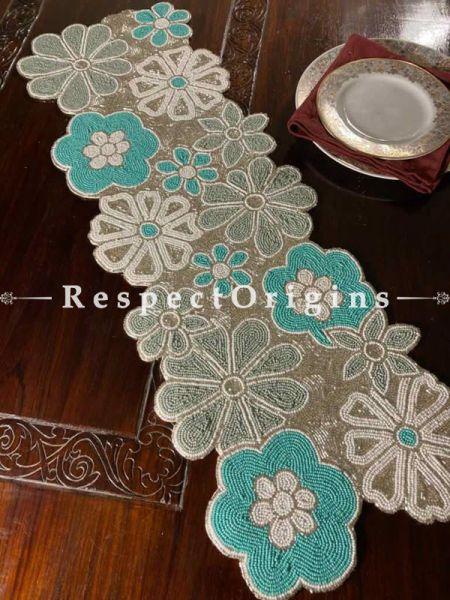 Blue Delight! Silken Beaded Table Runner with Place Mats Gift Set; RespectOrigins.com